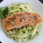 Pasta with Salmon and Creamy Avocado Sauce